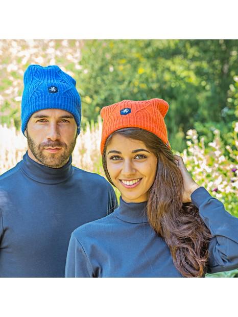 Bonnet Barèges orange et bleu lifestyle Blanc Bonnet