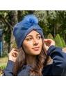 Bonnet Florence, pompon plumes, Blanc Bonnet bleu lifestyle 2